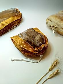 Úžitkový textil - Vrecúško na chlieb a pečivo - biele bodky na horčicovej (MINI) - 11562275_