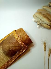 Úžitkový textil - Vrecúško na chlieb a pečivo - biele bodky na horčicovej (1kg chlieb) - 11562277_
