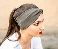 Ozdoby do vlasov - Čelenka dámska elastic & twist khaki - 11559580_