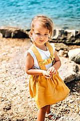 Detské oblečenie - Ľanová sukňa s mašličkami - 11562192_