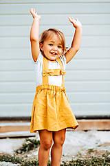 Detské oblečenie - Ľanová sukňa s mašličkami - 11562196_