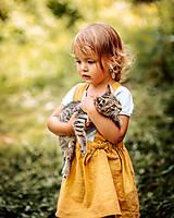 Detské oblečenie - Ľanová sukňa s mašličkami - 11562203_