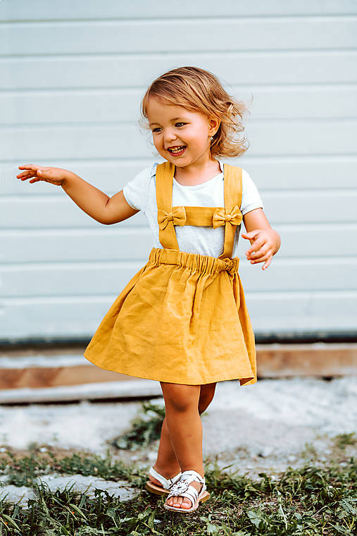 Ľanová sukňa s mašličkami