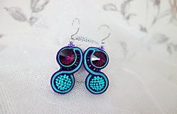 Tyrkys-fialové náušnice