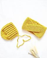 Detské čiapky - Set mama a dcéra horčicový - 100% merino - 11559932_