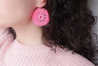 Náušnice - Náušnice háčkované pink - 11560243_