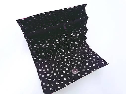 Peňaženka ružové mačky na čiernom + kľúčenka grátis