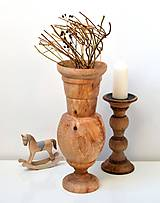 Dekorácie - Drevená váza-natur - 11563518_