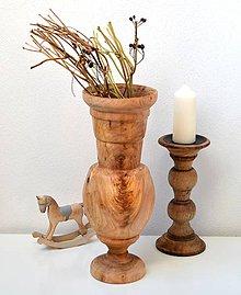 Dekorácie - Drevená váza-natur - 11563515_