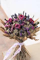 Dekorácie - Sušená kytica s ružami - 11564110_