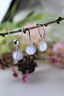 Sady šperkov - selenit náušnice a prívesok v striebre - súprava - 11564586_