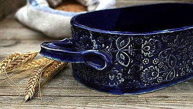 Nádoby - Forma na pečenie chleba - modrotlač - oválna dlhá - 11565241_