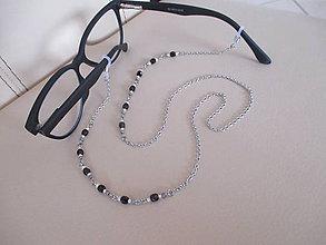 Iné šperky - Retiazka na okuliare - jemne-ružovo/čierna - chirurgická oceľ - 11563162_