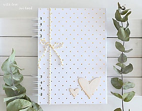 Papiernictvo - Zápisník (bielo-zlatý, s bodkami) - 11563899_