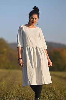 Šaty - Lněné šaty šedobílé - 11562763_