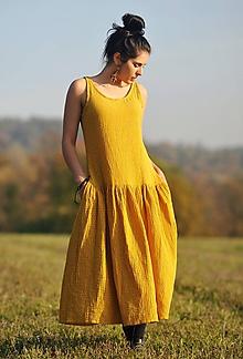 Šaty - Maxi mušelínové tmavě žluté puntíkové - 11562776_