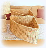 Košíky - Košík rohový v prírodnej hnedej farbe - 11563867_