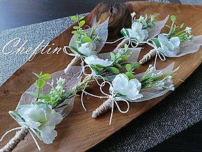 Pierka - Sada greenery svadobných pierok 6 ks - 11562563_