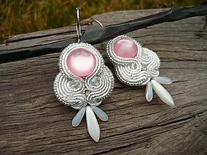 Náušnice - Soutache Náušnice White Rose - 11568550_
