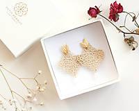 Náušnice - Náušnice s čipkou a perličkou. Champagne - 11567320_