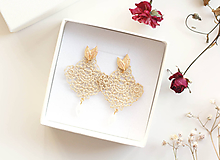 Náušnice - Náušnice s čipkou a perličkou. Champagne - 11567321_