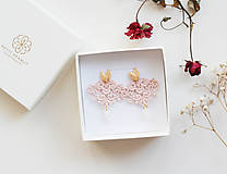 Náušnice - Náušnice s čipkou a perličkou. Staroružové - 11567341_