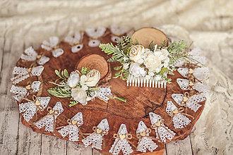 Ozdoby do vlasov - Svadobný set biela romantika - pierko, hrebienok - 11566358_