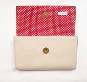 Peňaženky - Peňaženka harmoniková - Červené guličky na režnej - 11566963_