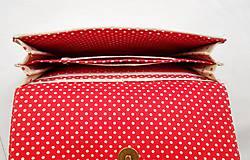 Peňaženky - Peňaženka harmoniková - Červené guličky na režnej - 11567009_