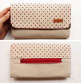 Peňaženky - Peňaženka harmoniková - Červené guličky na režnej - 11567027_