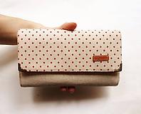 Peňaženky - Peňaženka harmoniková - Červené guličky na režnej - 11567039_