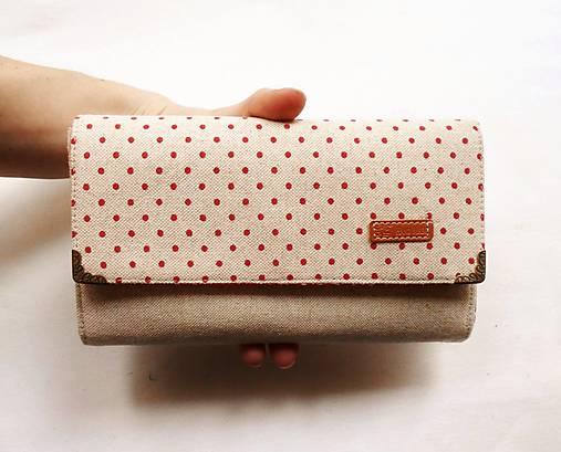 Peňaženka harmoniková - Červené guličky na režnej