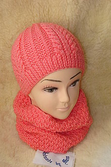 Čiapky - Ručne pletená ružová čiapka s nákrčníkom - 11567131_
