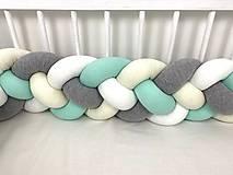 Textil - Detský mantinel biela krémová mint šedá - 11567875_