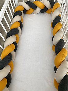 Textil - Detský mantinel antracit horčica biela káva - 11567012_
