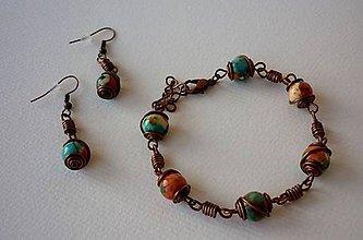 Sady šperkov - Náramok s náušnicami - jadeit - 11568636_