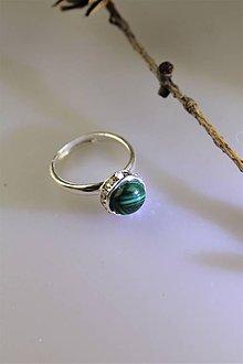 Prstene - malachit prsteň striebro - nastaviteľný - 11568404_