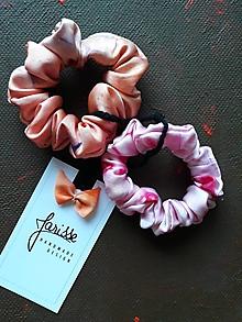 Ozdoby do vlasov - Hodvábne gumičky do vlasov aj na ruku- SET- marhuľová s ružovou - 11567353_