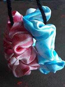 Ozdoby do vlasov - Hodvábne gumičky do vlasov aj na ruku- SET- ružová s bledomodrou - 11567556_
