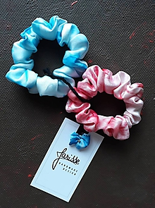 Ozdoby do vlasov - Hodvábne gumičky do vlasov aj na ruku- SET- ružová s bledomodrou - 11567569_
