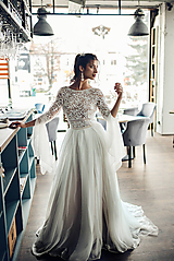 - Svadobné šaty z hrubej krajky v boho štýle s bohatou sukňou - 11565629_