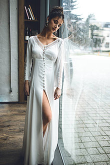 Šaty - Svadobné šaty vo vintage štýle na gombičky - 11565641_