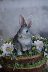 Dekorácie - Sivý zajačik - 11567603_