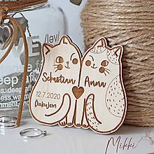 Darčeky pre svadobčanov - Svadobné magnetky Mačičky - 11568806_