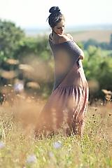 Šaty - Maxi lněné Terakota - 11567602_