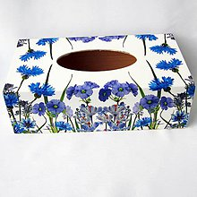 Krabičky - Krabica na papierové vreckovky-modré kvietky - 11572558_