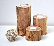 Svietidlá a sviečky - Drevené svietniky-naturálna sada - 11569075_