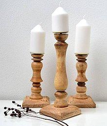 Svietidlá a sviečky - Drevené svietniky-sada - 11570225_
