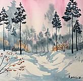 Obrazy - Originál akvarel Zimné ráno v lese - 11569147_