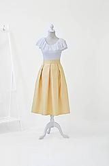 MIDI sukňa s vreckami v jemnej žltej farbe
